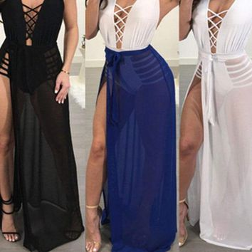 Women's Sheer Mesh Bikini Cover Up Swimwear Swimsuit Bathing Beach Skirts USA