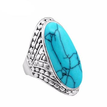 VONE7HQ Vintage Antique Silver Plated Oval Turquoise Ring