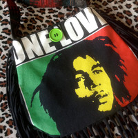 BOB MARLEY - Upcycled Rock Band T-shirt Fringe Purse - OOaK