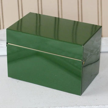 Vintage Metal File Box with Dividers | 3 x 5 Recipe File Box Dark Green | Recipe Storage | Receipt Box