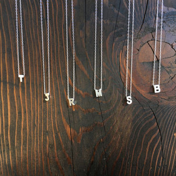 Small Personalized Uppercase Block Initial / Floating Letter Necklace in Silver