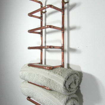Handmade towel rack, bathroom towel storage, reclaimed copper pipe, 6 towel rack, industrial decor, French design, made in France.