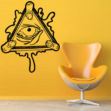 Wall decal decor decals art sticker all seeing eye annuit coeptis illuminati god triangle mason undertakings favorably (m761)