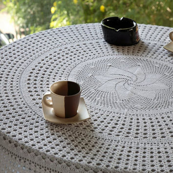 Oroshi CROCHET TABLECLOTH- HANDMADE - Table Decor- Wedding, Bridal, Home Decor- Garden Table- Natural and White Color