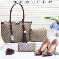 GUCCI 2018 new female counter models stylish four-piece Messenger bag F-KSPJ-BBDL coffee