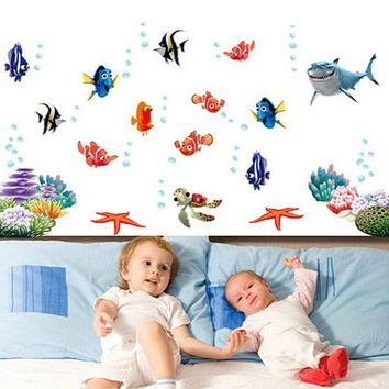 DCK9M2 Finding Nemo Under Sea Shark Fish Cartoon Bathroom Wall Stickers For Kids Rooms Nursery bedroom quarto Decor poster Decals