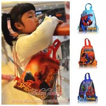 1PCS Spider Man Children Drawstring Backpacks School Shopping Bags 34*27CM Non Woven Fabrics Kids Xmas Party Gift