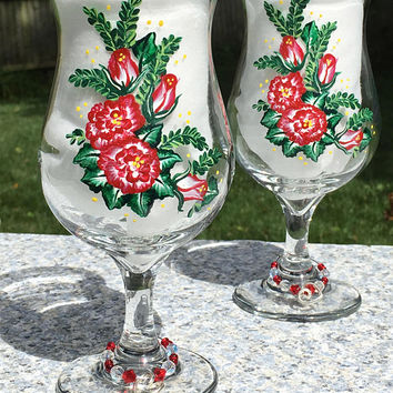 Wine Glasses With Red Roses Hand Painted Set of 2, Wine Glass Charms, Christmas Gift.Holiday Gifts, Gifts For Her, Birthday Gift