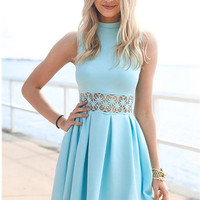 Light Blue Summer Daisy Dress