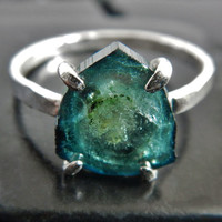 Natural Blue Tourmaline Crystal Slice and Sterling Silver Ring, Rough Tourmaline, Bicolor Tourmaline, Raw Stone Ring, Crystal Slice Ring