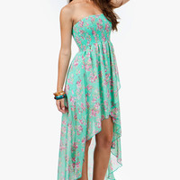 A'GACI Floral Smocked Hi Low Dress - DRESSES
