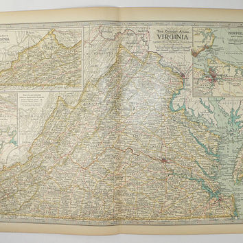 Vintage Virginia Map 1899 Century Map of Virginia, VA Map, Virginia Gift for Couple, Virginia State Map, Chesapeake Bay, Norfolk Virginia