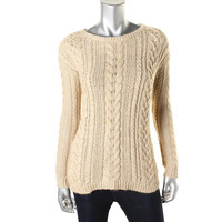Denim & Supply Ralph Lauren Womens Cable Knit Heathered Pullover Sweater
