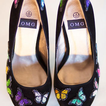 High Heel Shoes - Blue Butterfly Design - Hand Painted Heels Customised by OMG SHOES