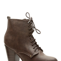 Brown Faux Leather Chunky Lace Up Booties