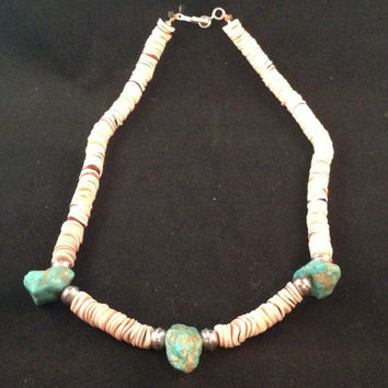 1970's Vintage Native American Handmade Turquoise Puka Shell Silver Necklace