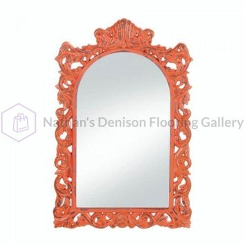 Stylish Distressed Orange Wall Mirror