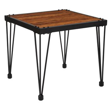 Baldwin Collection Wood Grain Finish Side Table with Metal Legs