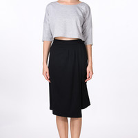 Casual Black Asymmetrical Midi Skirt