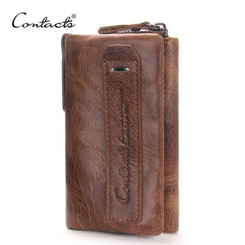 CONTACT'S 2017 Vintage Crazy Horse Leather Men Wallets Multi-Functional Cowhide Key Purse Genuine Leather Coins Wallet For Men