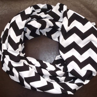 Black and White Chevron Jersey Knit Infinity