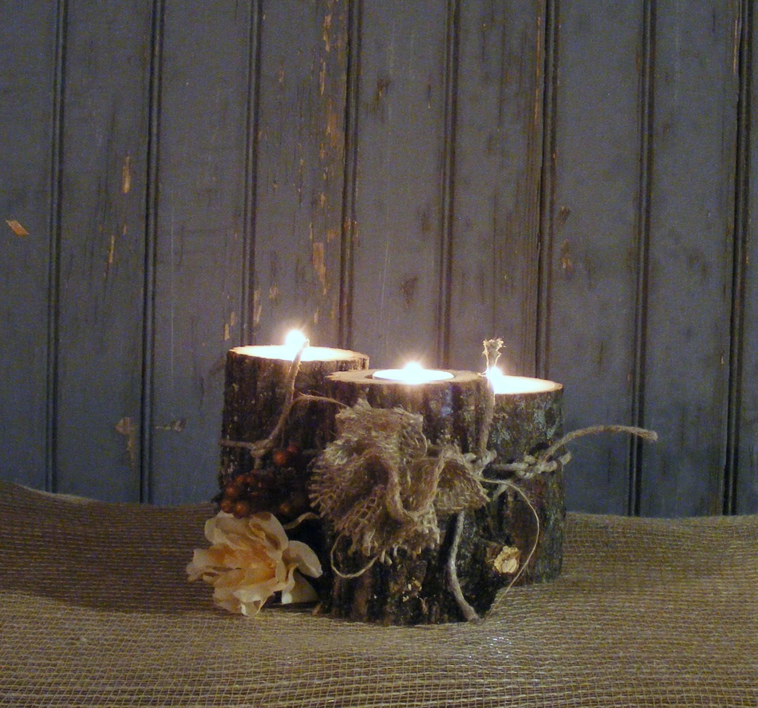 Burlap twine log candle holder set of from gft woodcraft