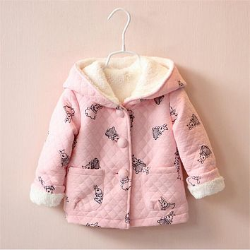 Hooded Pink Baby Jacket with Rabbit Prints