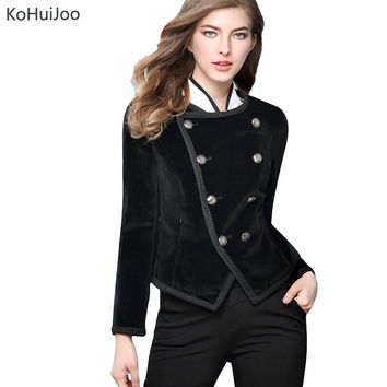 KoHuiJoo 2017 Slim Black Velvet Blazers Women Double Breasted Lapel Work Suit Blazer Female Suit Jacket Slim Lady Office Coats
