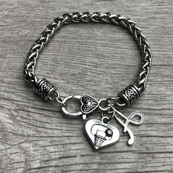 Personalized Basketball Hear Hoop Bracelet with Letter Charm
