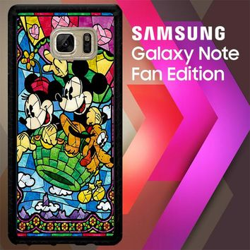 Mickey Minnie Mouse Pluto Disney Stained Glass L2191 Samsung Galaxy Note FE Fan Edition Case