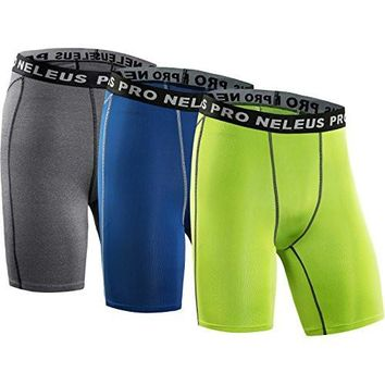 Neleus Men's Short 3 Pack Compression Short