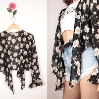90s daisy print jacket // ruffle sleeves // semi sheer
