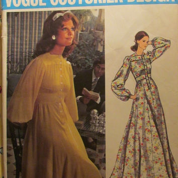 SALE Uncut 1970's Vogue Sewing Pattern, 2664! Size 14 Women's/Misses/Medium/Couture Design Jean Muir High Waist Dress/Tucked Bodice/Short or