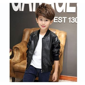 New Boys Coats Faux Leather Jackets Spring Autumn & Winter Children Fashion Outerwear Kids Brand Jacket