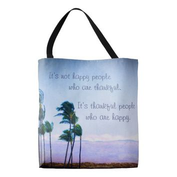 "Hawaii palm trees ""thankful"" quote photo tote bag"