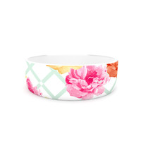 "Pellerina Design ""Trellis Peonies"" Yellow Flowers Pet Bowl"