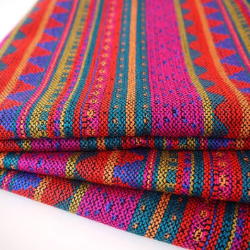 Aztec Fabric, Peruvian Fabric, Woven, Bright Geo Stripes, 1 Yard