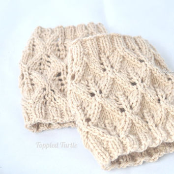 Pattern - A Touch of Lace Hand Knit Boot Cuff Pattern   Knit Lace Boot Sock Pattern   Knit Leg Warmer Pattern   Lace Leg Warmer Pattern