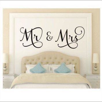 "DNVEN (Medium, 39""w x 15""h) Mr and Mrs Husband and Wife Couples Headboard Bedroom Wall Decals Stickers Arts Decor Home Vinyl Lettering Sayings Quotes Romantic Wedding Anniversary Wall Decals"