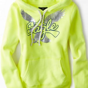 AEO 's Signature Graphic Hoodie (Deep Neon Yellow)