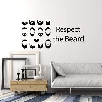Vinyl Wall Decal Beard Quote Barbershop Barber Hair Salon Decor Stickers Mural (ig5613)