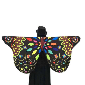 Novelty Desgin Soft Fabric Butterfly Wings Shawl Women Fairy Ladies Nymph Pixie Costume Accessory Pashmina Ladies  #63 SM6