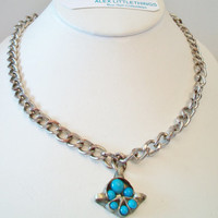 Turquoise Pod Necklace Unisex Silver Tone Chunky Chain Upcycle Repurposed Costume Jewelry