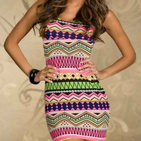 Green and Pink Geometric Pattern Backless Mini Dress