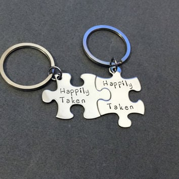 Happily Taken Keychains, Puzzle Piece Keychains, Couples Keychains, Couples Gifts , Anniversary Gift