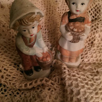 Ceramic Children  Girl and Boy collectibles  Sculpture  Children figurines  Stone figurine Vintage porcelain Collectible figurines