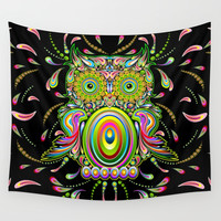 Owl Psychedelic Art Design Wall Tapestry by BluedarkArt