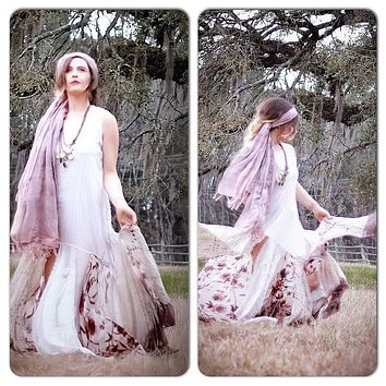 Upcycled boho Free people maxi dress, boho sundress, ombre dress, Boho chic style clothing, bohemian gypsy moon romantic True rebel Clothing
