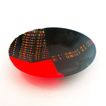 Large Modern Bowl, Functional Art, Pasta Serving Bowl, Unique Table Centerpiece, Cool Living Room Decor, Best Gifts under 200, Fused Glass