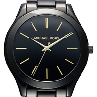 Women's Michael Kors 'Slim Runway' Bracelet Watch, 42mm - Black/ Gold